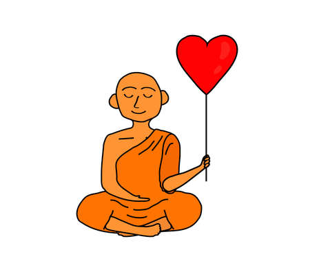 Buddhist monk with a heart-shaped balloon. Vector illustration.