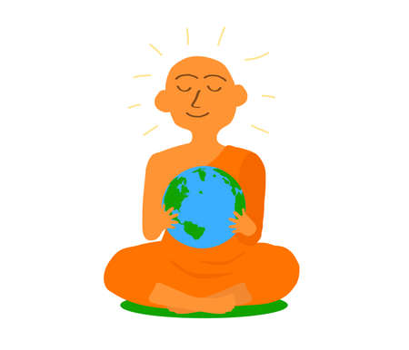 Buddhist monk and globe on a white background. Vector illustration.
