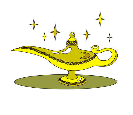 Magic lamp and stars on a white background. Cartoon. Vector illustration.