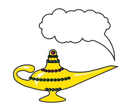 Magic lamp on a white background. Cartoon. Vector illustration. 向量圖像