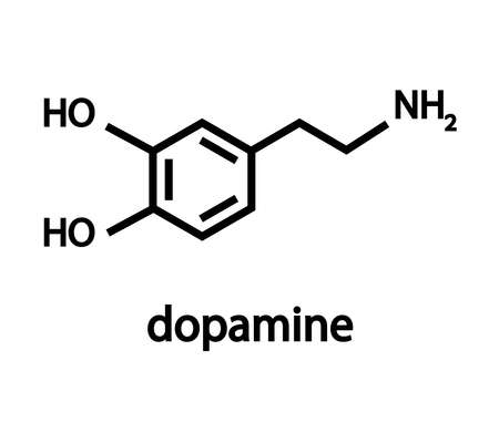 The chemical formula of dopamine. Structure. Vector illustration.