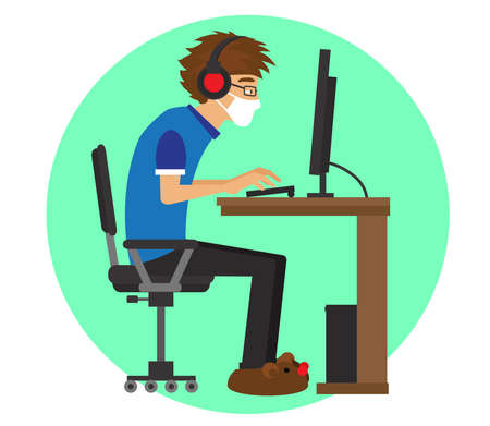 A man in a medical mask works on a computer. Remote work. Vector illustration.