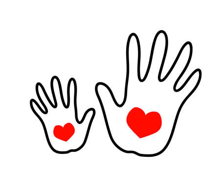 Hand of a grown-up and a hand of a child on a white background. Vector illustration. Vettoriali