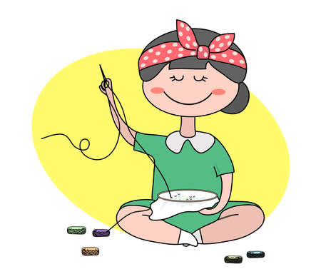 Cute girl is engaged in embroidery on the background. Vector illustration.