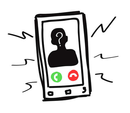Black mobile phone on a white background. Scammer's call. Vector illustration.