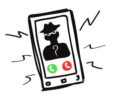 Mobile phone on a white background. Scammer's call. Vector illustration.