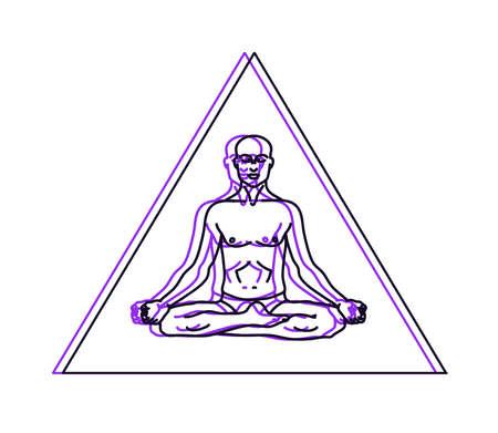 A man meditates on a white background.Vector illustration. Illusztráció