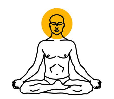 A man is meditating on a white background. Buddhism. Vector illustration.