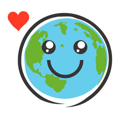 Planet earth and heart on a white background. Symbol. Vector illustration. Çizim