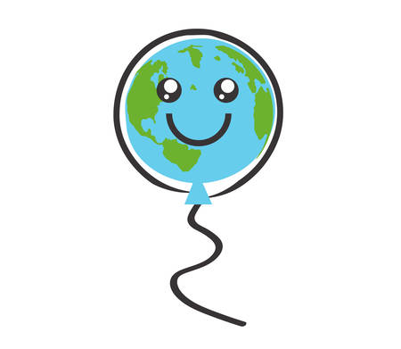 Planet earth like a ball on a white background. Symbol. Vector illustration.