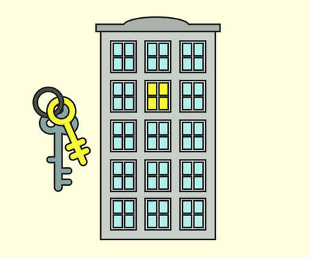 Keys and house on a white background. Cartoon. Illustration. 向量圖像