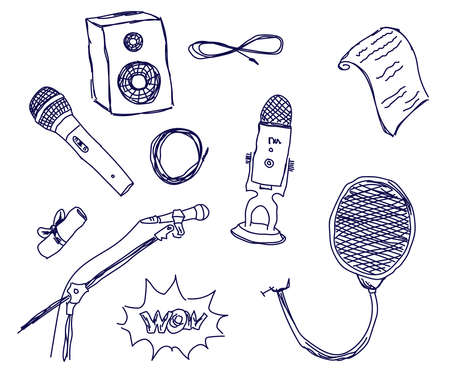 Microphone and pop filter on a white background. Sketch. Vector illustration.