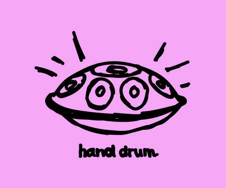 Hand drum on a pink background. Linear silhouette. Vector illustration.