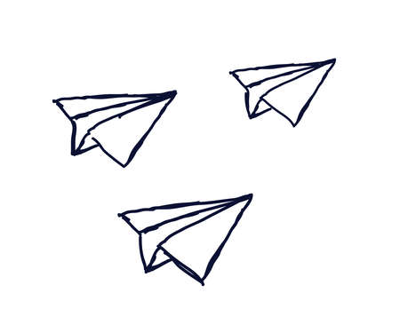 Paper airplanes on a white background. Sketch. Vector illustration.
