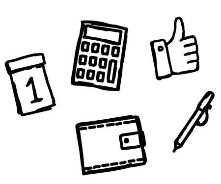 Business icons on a white background. Sketch. Vector illustration.