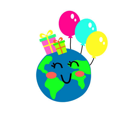 Planet earth and balloons on a white background. Cartoon. Vector illustration.