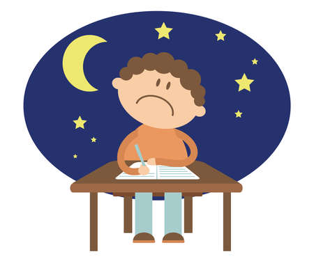 The student sits at the table and solves the problem. Night. Cartoon. Vector illustration. Ilustração