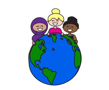 Planet earth and various women on a white background. Cartoon. Vector illustration.