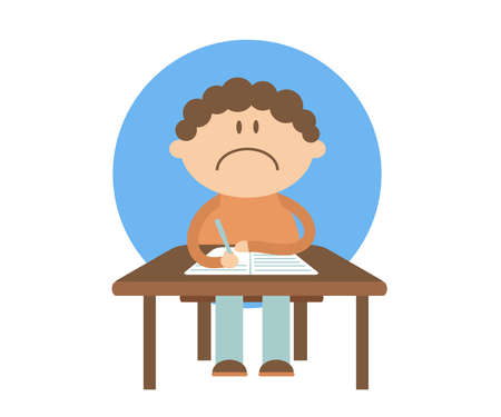 The schoolboy sits at the table and writes in a notebook. Cartoon. Vector illustration. Ilustração