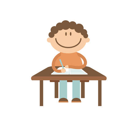 The schoolboy sits at the table and writes in a notebook. Vector illustration.