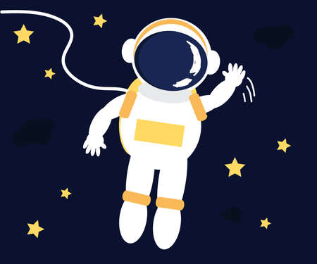 Astronaut on the background of blue space. Cartoon. Vector illustration.