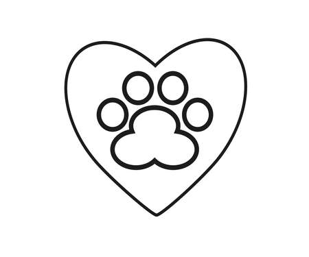 Dog footprint and heart on a white background. Silhouette. Vector illustration. Ilustração