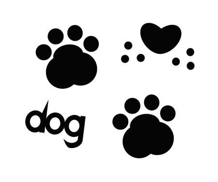 Dog footprint on a white background.Vector illustration.