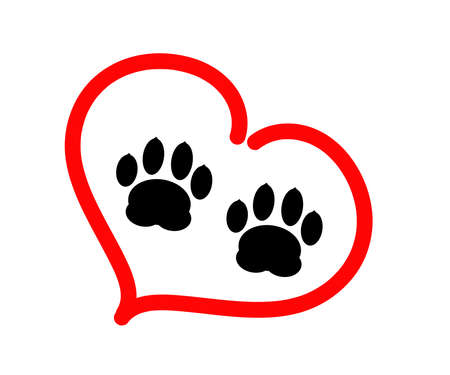 Dog footprint on a white background. Icon. Vector illustration.