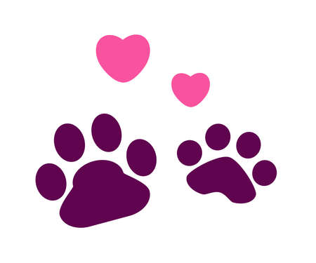 Dog footprint on a white background. Imprint. Vector illustration.