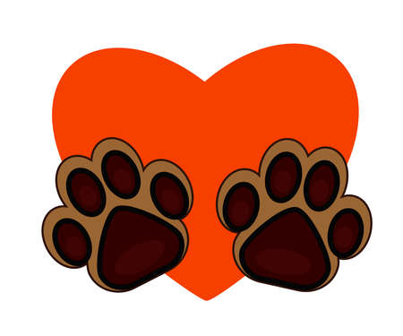 Dog footprint and heart on a white background. Symbol. Vector illustration.