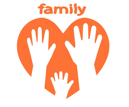 People hands and heart on a white background. Family symbol. Vector illustration.
