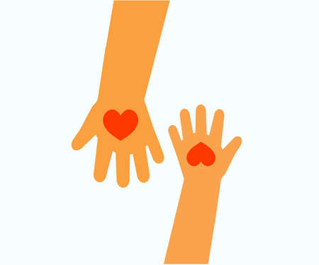 The hand of an adult and the hand of a child on the background. Symbol. Vector illustration.