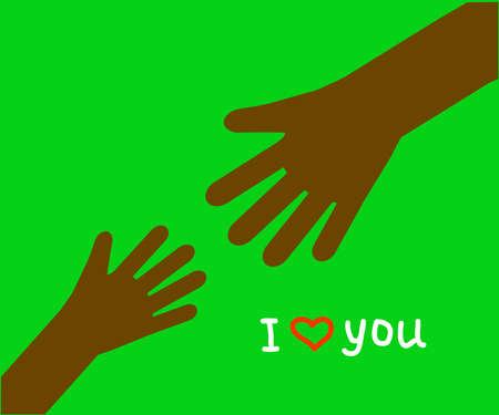 Hands of people on a green background. Symbol. Vector illustration. Illusztráció