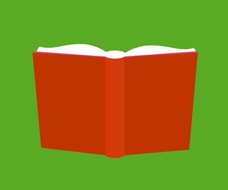 Open book on a green background. Symbol. Vector illustration.
