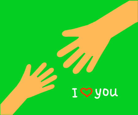Hand of an adult and the hand of a child on a green background. Symbol. Vector illustration.
