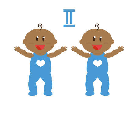 African American children twins on a white background. Cartoon. Vector illustration.