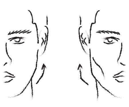 Silhouette of a male face on a white background. Correction of the shape of the face and chin. Vector illustration.