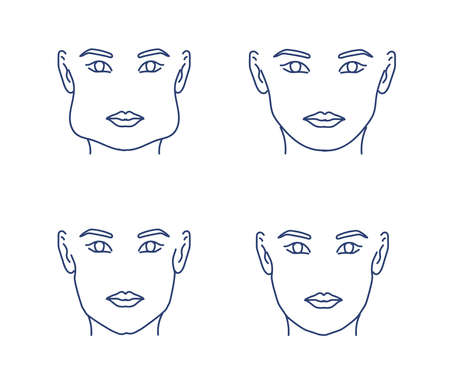 Woman's face on a white background. Cheekbone correction.