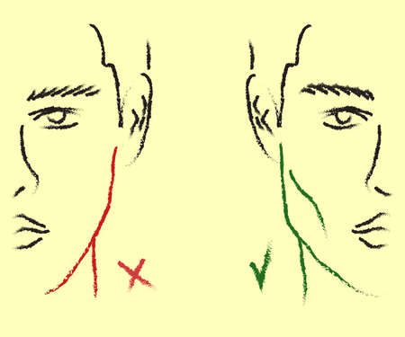 Silhouette of a male face on the background. Correction of the shape of the face and chin. Vector illustration. 矢量图像