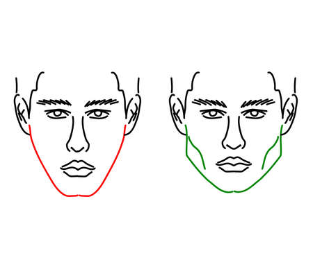 Silhouette of a male face on a white background. Correction of the face shape. Vector illustration.
