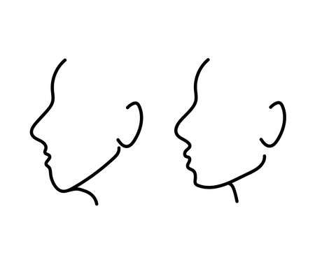 Silhouette of a human head on a white background. Correction of the shape of the face and chin. Vector illustration.