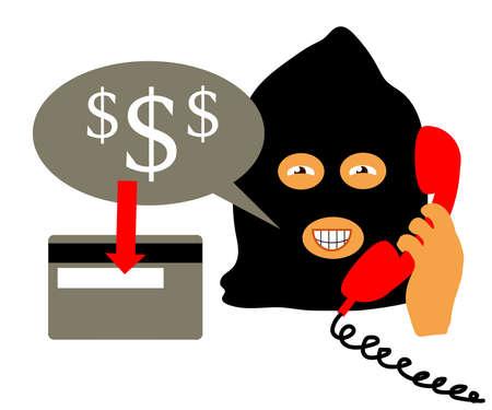 The fraudster calls on the phone. Cartoon. Vector illustration.