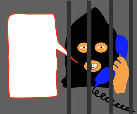 Fraudster is calling on the phone on a white background. Cartoon. Vector 向量圖像