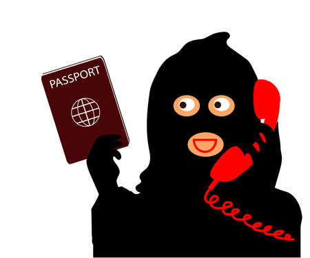 The swindler and the telephone receiver. Cartoon. Vector illustration. 版權商用圖片 - 156113823