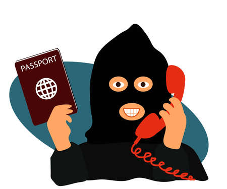 The fraudster cheats on the phone. Cartoon. Vector illustration.