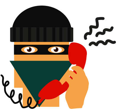 The crook and the telephone receiver. Cartoon. Vector illustration. 向量圖像