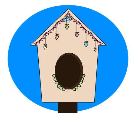 Birdhouse on a blue background. Cartoon. Vector