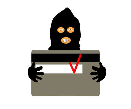 Phone scammer and bank card. Cartoon. Vector illustration.