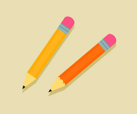 A simple pencil on a white background. Collection. Vector illustration.