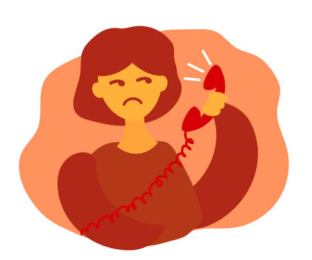 Displeased girl and a telephone receiver. Cartoon. Vector illustration.